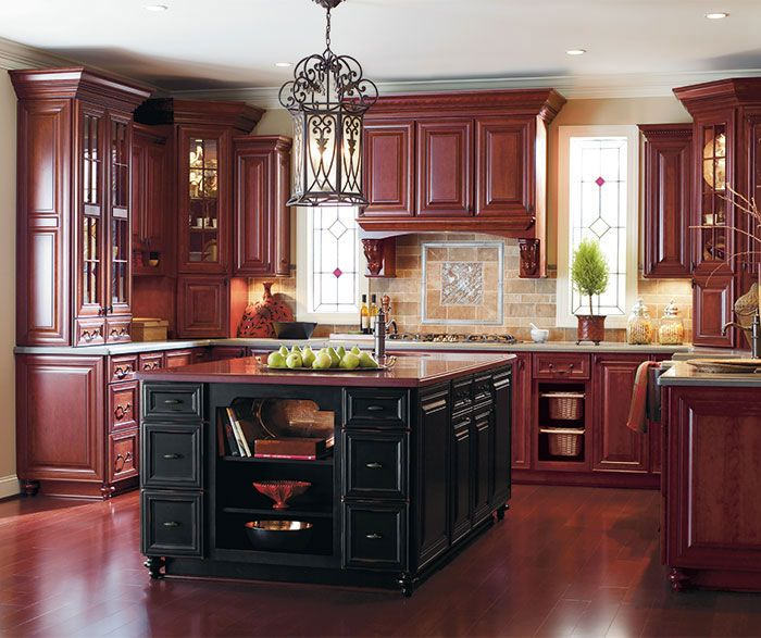Omega cabinetry for Burgundy kitchen cabinets pictures